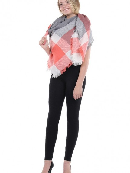 Wrapped In Plaid Scarf, Gray/Coral