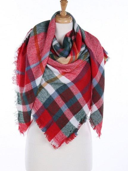 Wrapped In Plaid Scarf, Pink/Red Multi