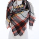 Wrapped In Plaid Scarf, Ivory/Mustard Multi