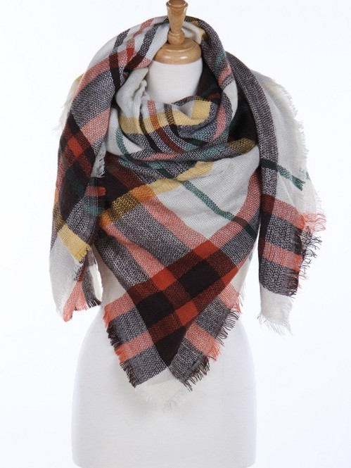 Wrapped In Plaid Scarf, Ivory/Mustard Multi 1