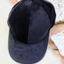 Velour Ball Cap in Black