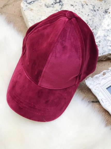 Velour Ball Cap in Burgundy
