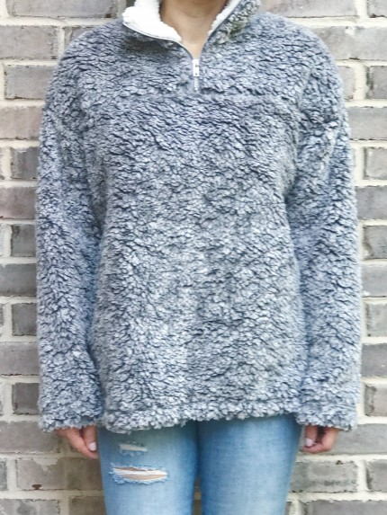 Cabin Lodge Fur Pullover in Light Gray