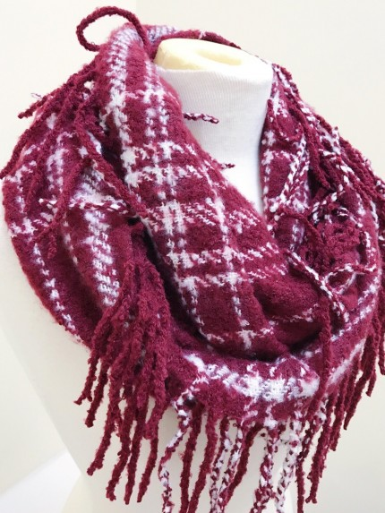 Mountain Wanderlust Scarf in Burgundy