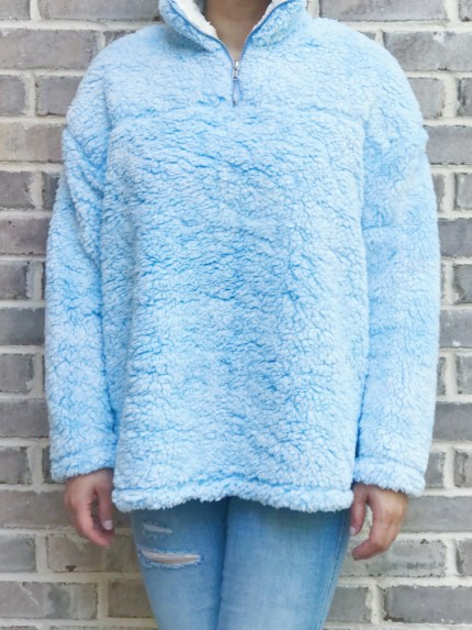Cabin Lodge Fur Pullover in Sky Blue