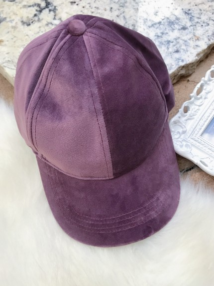 Velour Ball Cap in Purple