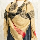 Square Plaid Scarf in Beige
