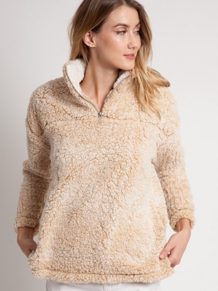Cabin Lodge Fur Pullover in Taupe