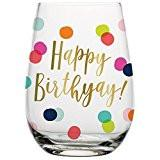 Happy Birthday Dots Stemless Wine Glass
