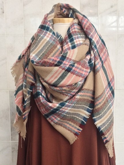 Wrapped In Plaid Scarf, Ballerina Pink