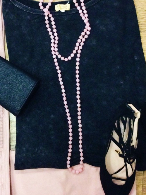 60″ Beaded Necklace, Rose Quartz 1