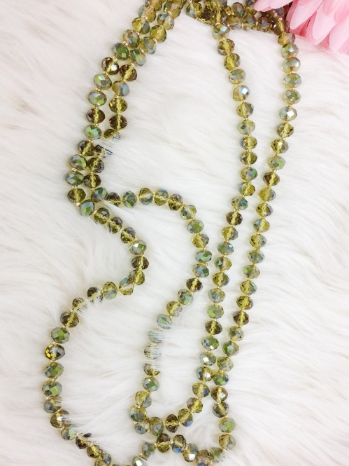 Long Beaded Necklace, Olive Foil 1
