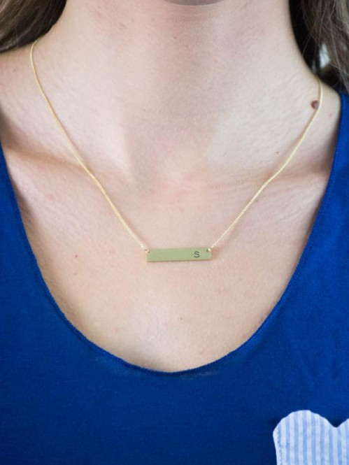 Chelsea Initial Bar Necklace 1