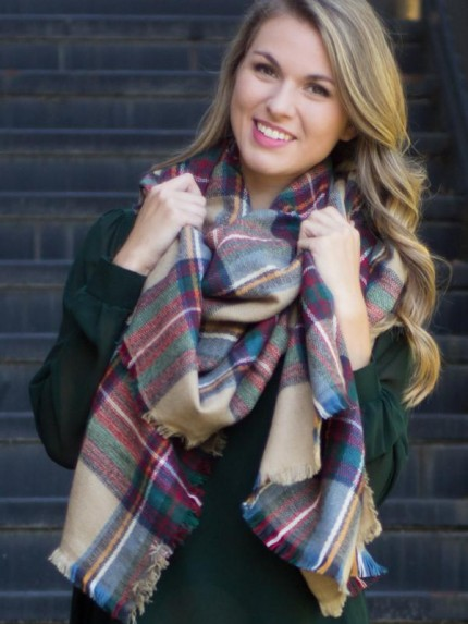 Wrapped In Plaid Scarf, Camel