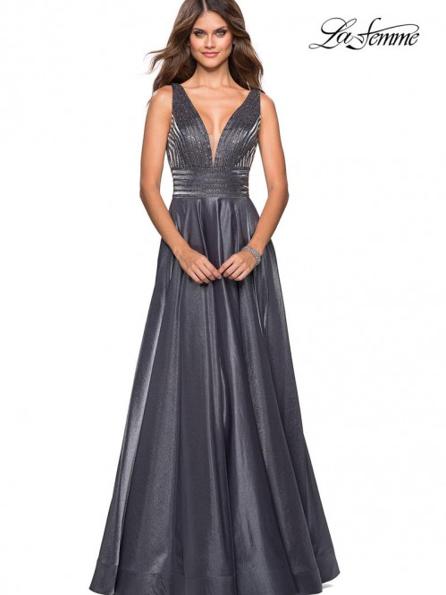 bfff74a142a Flattering La Femme Prom Dresses Style  27205 in Platinum chicdoor.com
